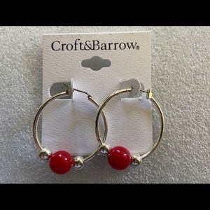Red Croft & Barrow hoop earrings